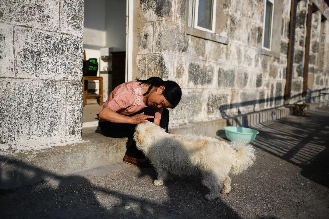 参添完外子王继才追悼会的王仕花乘船回到开山岛,照顾和她一首生活的幼狗(8月8日摄)。王仕花将不息守岛。新华社记者 李响 摄