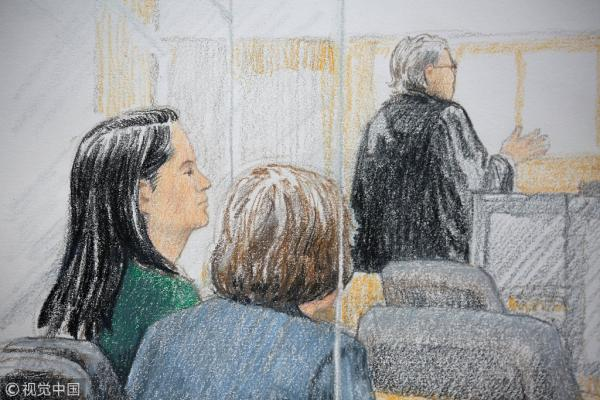 当地时间2018年12月7日,添拿大温哥华,针对华为CFO孟晚舟的保释听证会在温哥华法庭举走。图片来源@视觉中国