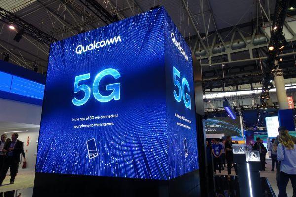 这是2月25日在西班牙巴塞罗那世界移动通信大会上拍摄的高通展厅。 (新华社)