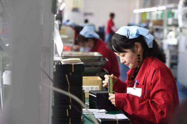 ▲资料图片:2019年4月16日,在汉中锐杰电子江湾移民社区扶贫工厂,工作人员在检验车用电子元器件。(新华社)