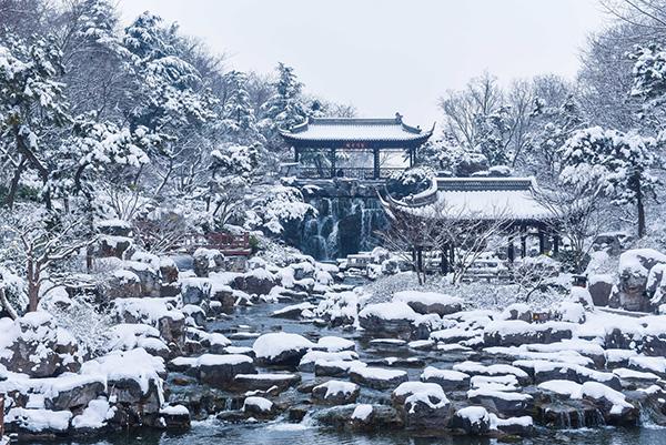 雪后扬州双峰云栈风景区