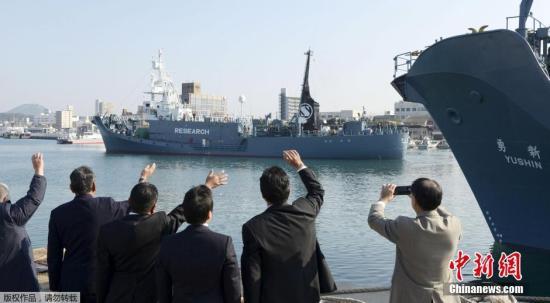 """原料图:日本""""科研捕鲸""""船队从该国山口县下关市的下关港起程前去南极海域。"""