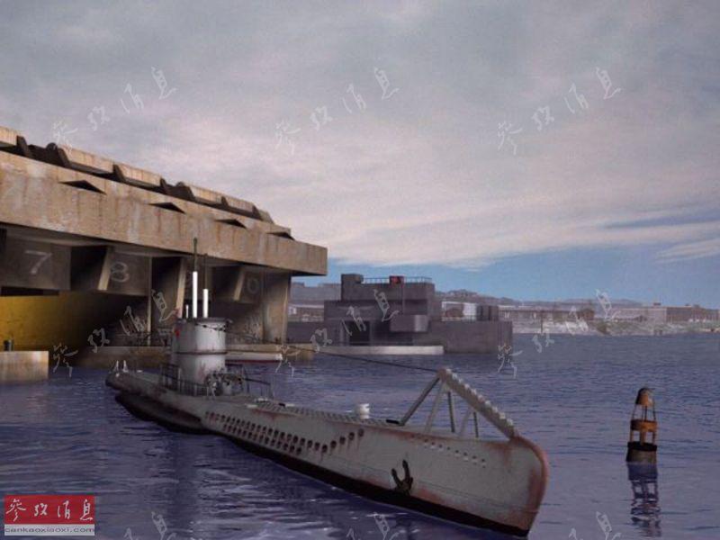 图为U艇从圣纳泽尔基地出动的CG还原图。