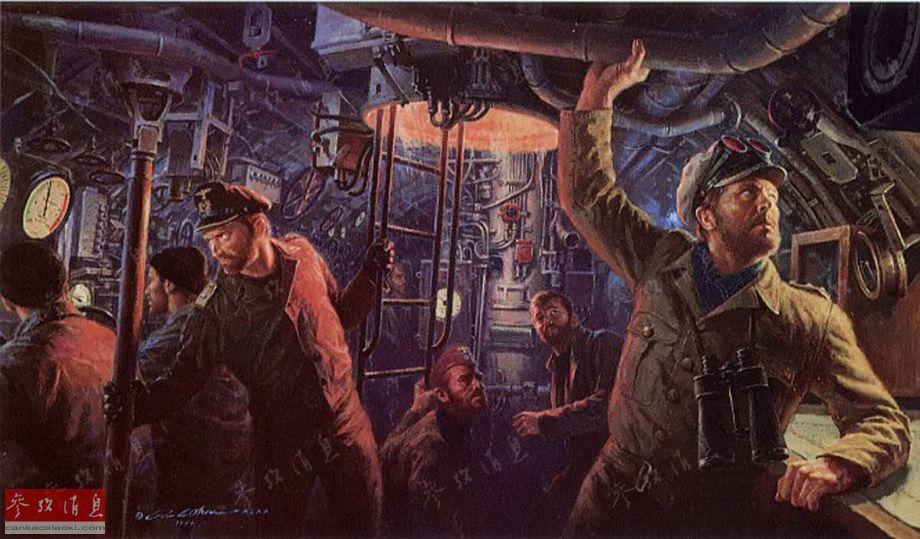 图为艺术家绘制的二战时期,德国U艇指挥室内部场景。