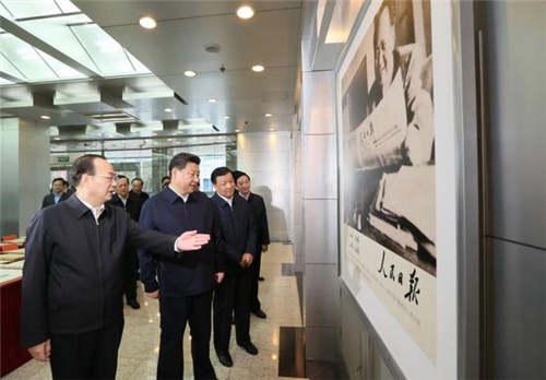 2月19日上午,習近平來到人民日報社調研。人民日報記者 杜尚澤 攝