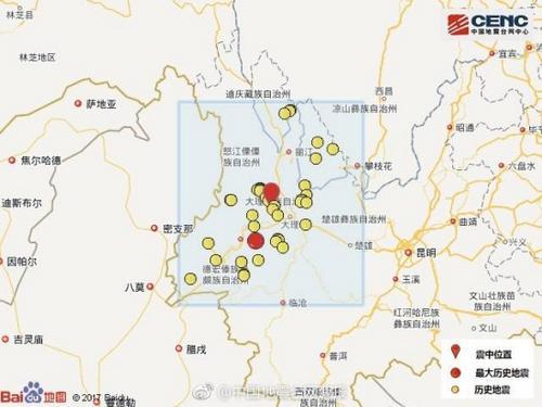 此次震中周边按震级大小前50次历史地震分布如图 中国地震台网