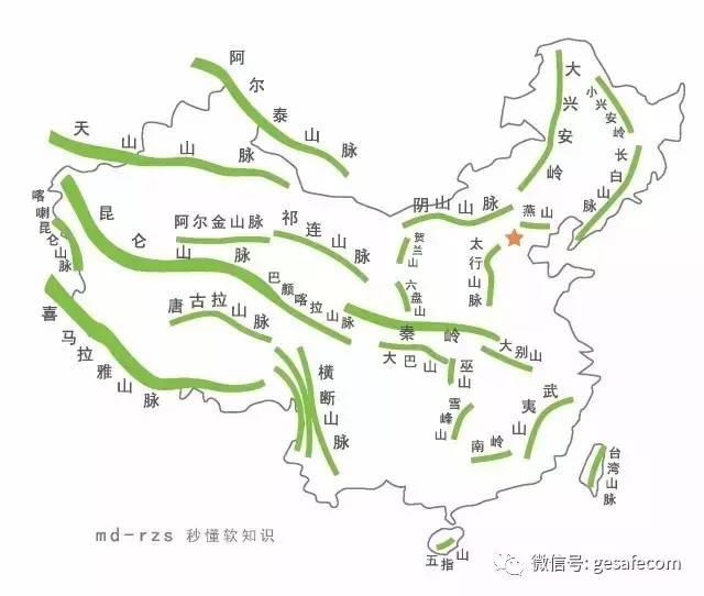 中国山脉地形图全图_中国山脉地图高清版