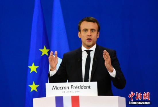 图为法国总统马克龙。 中新社记者 龙剑武 摄