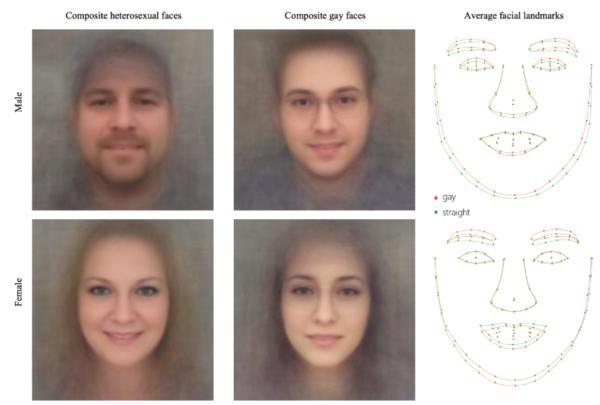异性恋(左)、同性恋(中)男女的复合面部图像,最右为异性恋(绿色)、同性恋(红色)男女的平均面部标记