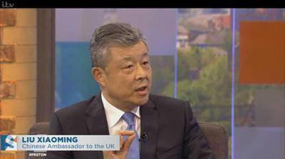 ▲刘晓明接受英国独立电视台直播专访。