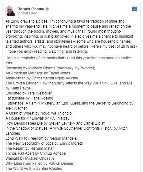 奥巴马在Facebook上贴出本身的年度清单