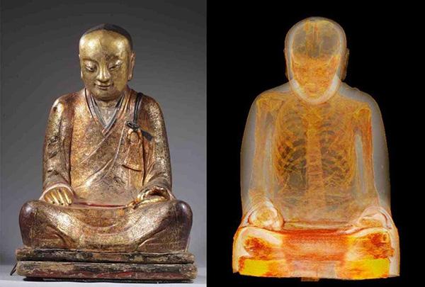 佛像内部遗骸的影像