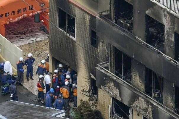 火灾现场(图源:日本共同社)