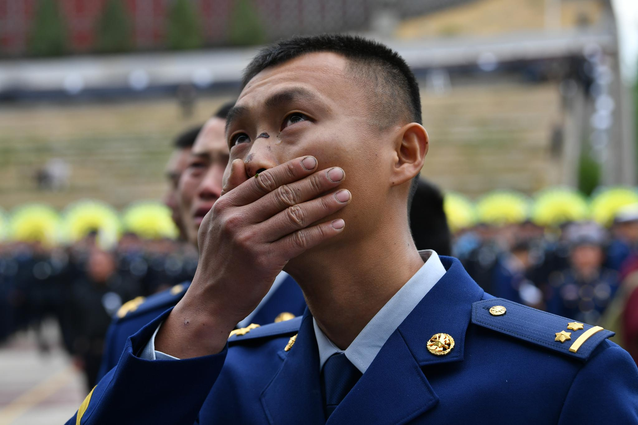 从火场木里火场归来的指导员胡显禄。新京报记者吴江 摄