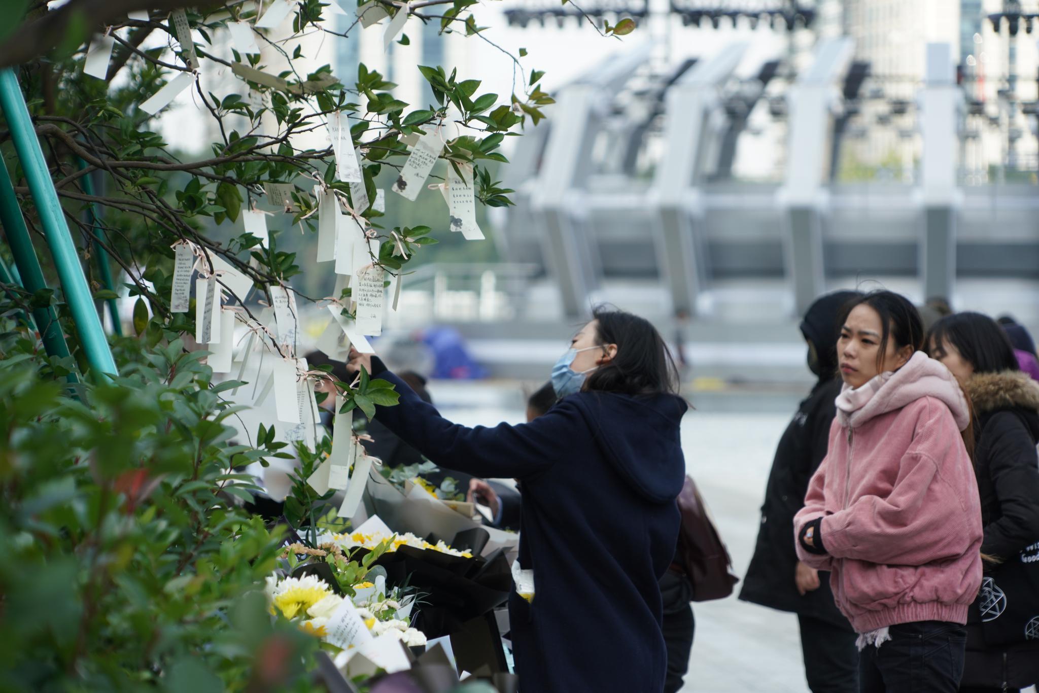 高以翔粉丝将写好的小纸条挂在树枝上。新京报记者 俞金旻 摄