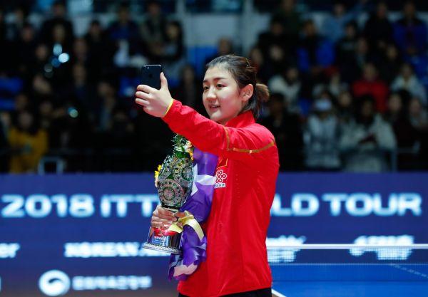 陈梦成本年度国际乒联总决赛金牌独苗。新华社记者王婧嫱摄
