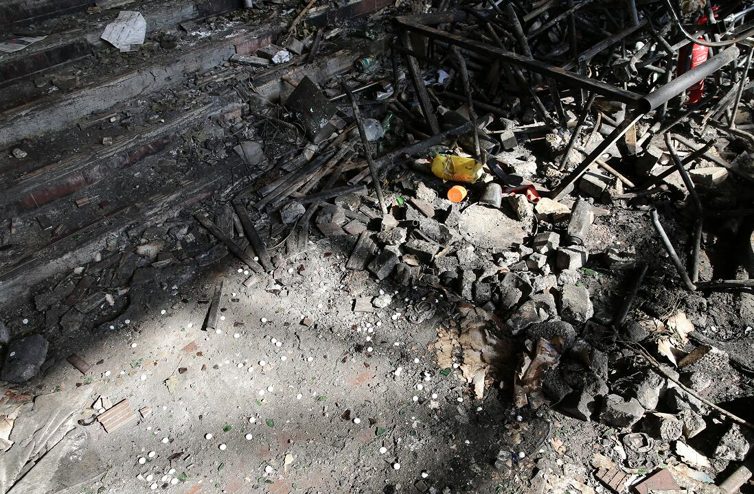 香港理工大学被破坏,满目疮痍。(新华社资料图片)