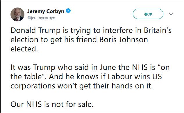 """科尔宾指责特朗普试图干涉大选,NHS是""""非卖品"""" 图片来源?#21644;?#29305;截图"""