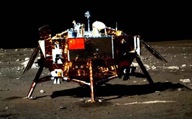 """""""玉兔""""号月球车拍摄的嫦娥三号着陆器。来源/国家航天局"""