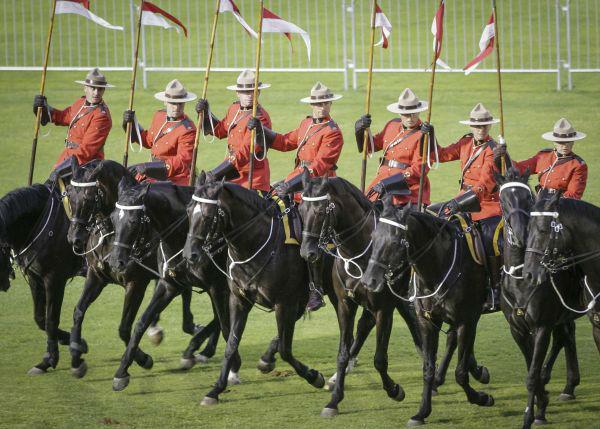 2017年8月18日,在加拿大温哥华,皇家骑警进行音乐马术表演。(新华社发)