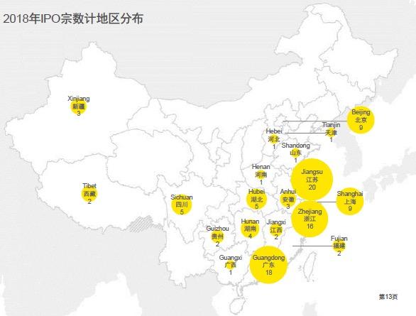 2018年IPO宗数地区分布。数据来源:安永