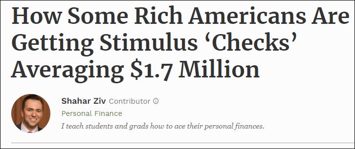 △《福布斯》刊文指出,虽然富人不符合接受补贴的条件,但却可以通过抵消纳税的方式,获得最高达上百万的好处