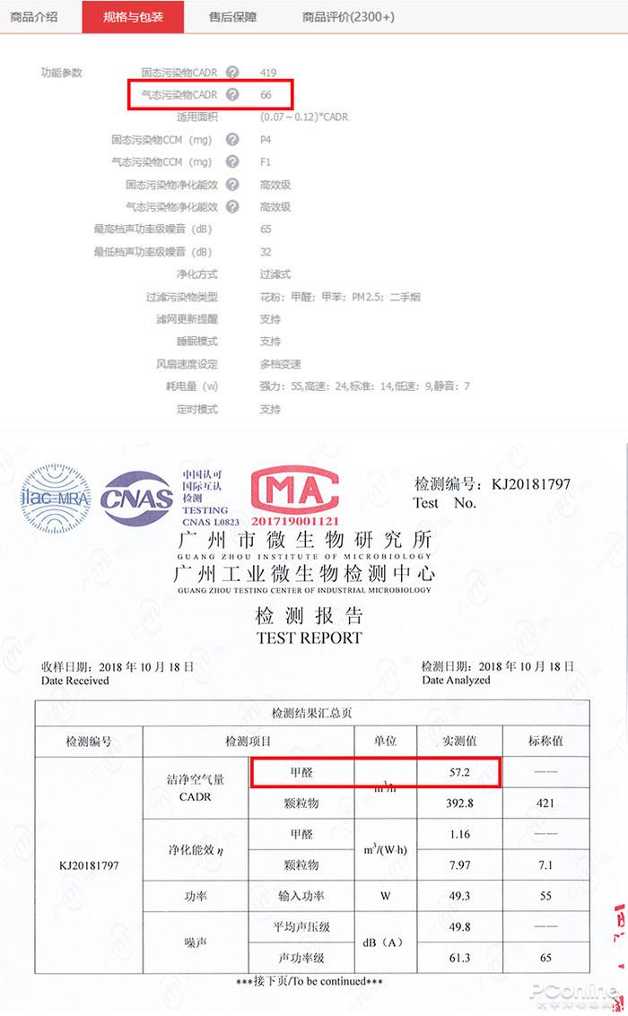 ▲大金官方旗舰店的标称数据和广州市微生物钻研所的实测数据对比