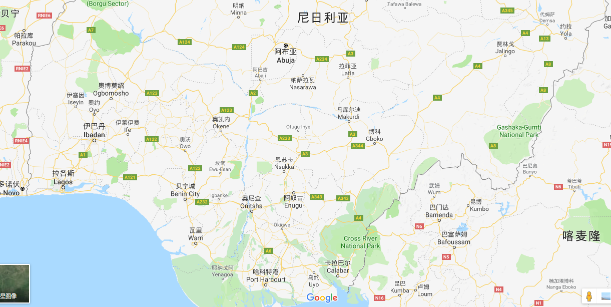 巴耶尔萨州位于尼日利亚南部,是尼日利亚最不发达的州之一。(图源:谷歌地图)