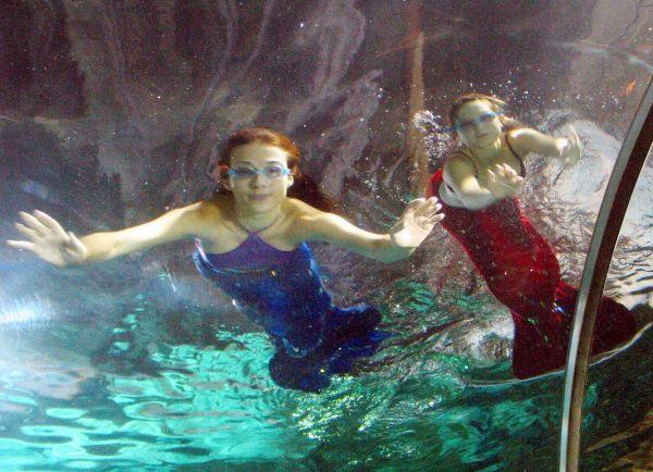 2004年7月16日上午,两条来自俄罗斯的美人鱼在秦皇岛新澳海底世界游玩打闹,她们往往摆出各栽各样柔美的造型。这两条时兴的美人鱼是景区由俄罗斯一著名舞蹈团请来的两位舞演员,于2004年7月中旬来到秦皇岛,自7月13日最先每天为来秦不都雅光旅游的宾客做两到期三个月的水中外演。(视觉中国)