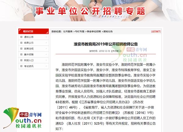 淮安市哺育局网站发布的雇用公告。中国青年网记者 李华锡 供图