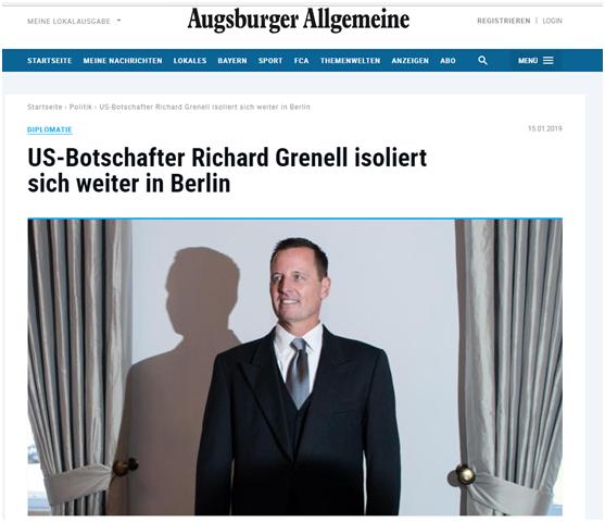 (《奥格斯堡汇报》:美国大使理查德・格雷内尔在柏林继续自我孤立)