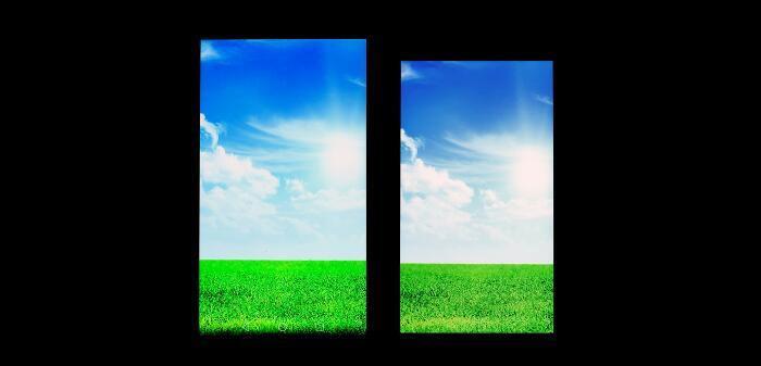 广色域屏幕(左)往往会过于鲜艳丢失细节,大家可以对比草地的颜色,明显已经失真