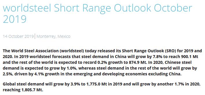 世界钢铁协会:除中国外 今年全球需求近乎停滞