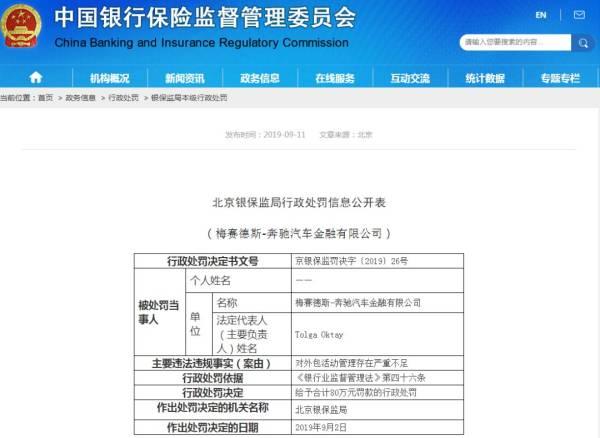 北京银保监局行政处罚决定