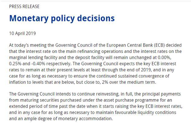 欧央行重申年内按兵不动 德拉吉警示风险欧元跳水