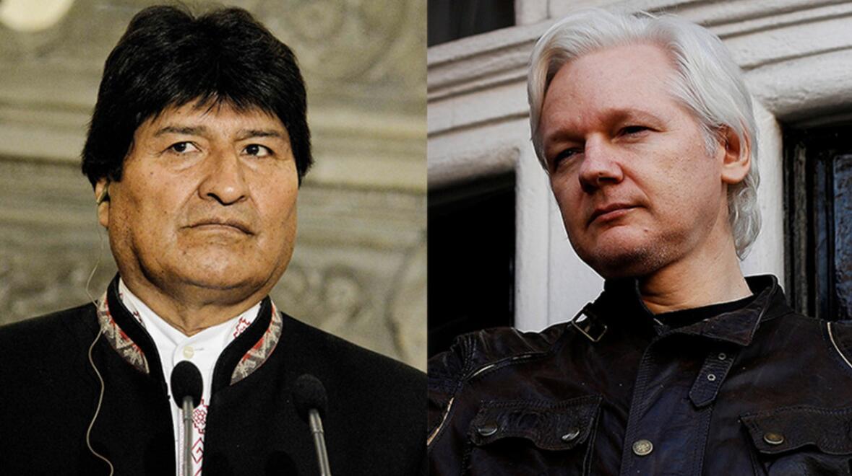 (玻利维亚总统莫拉莱斯和朱利安·阿桑奇 图片来源:路透社)