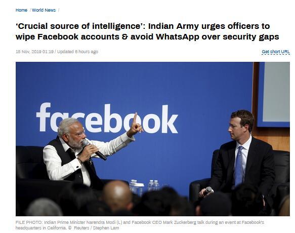 担心情报泄露 印军方敦促官员远离脸书与WhatsApp