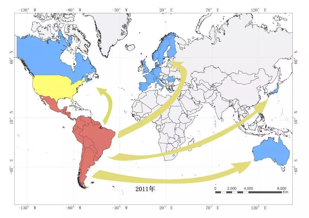 2011年开始向全球扩散