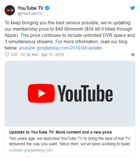 YouTube TV将月费提至50美元 EPIX覆盖已超70个