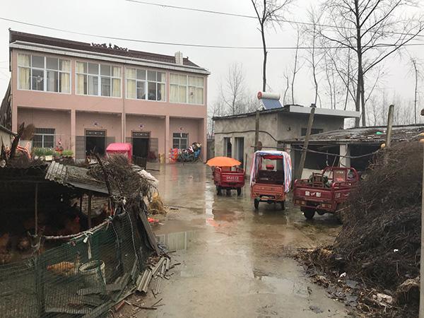 张大国给两个儿子修的婚房,院子里养着不少鸡,一侧猪圈里的猪已经被卖失踪。澎湃音信记者 周琦 摄