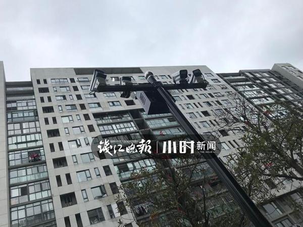 """宁波鄞州区""""金地国际花园""""为8幢高层住宅安装了64个防高空抛物摄像头 本文图片均来自钱江晚报小时新闻"""