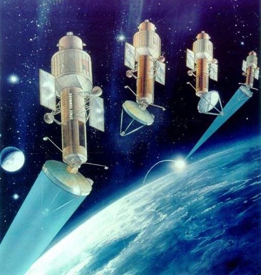 图为美国太空战高能激光武器示意图