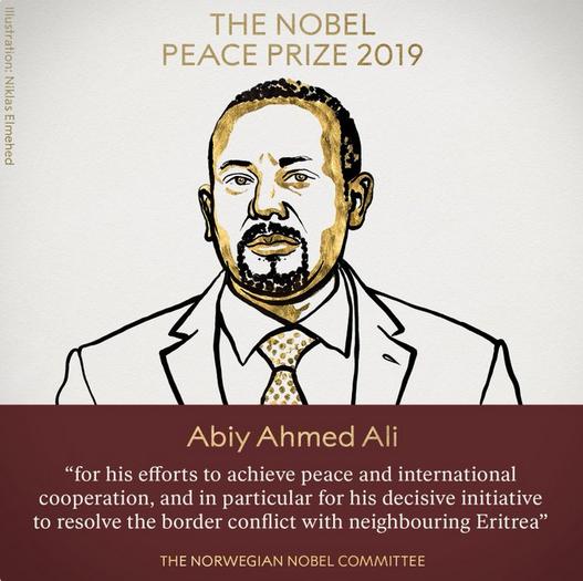 阿比获2019年诺贝尔和平奖图源:诺贝尔奖官网