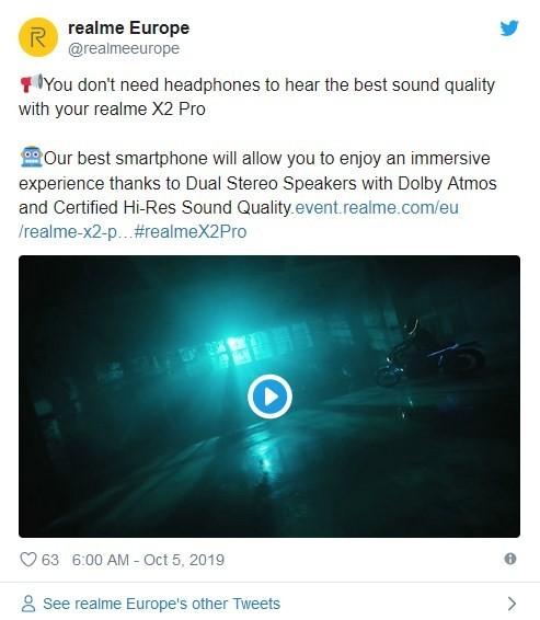 realme X2 Pro将采用双立体扬声器 音质通过Hi-res小金标认证
