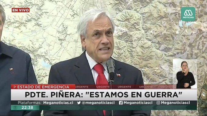 """皮涅拉发表电视声明,称""""我们处在战争之中""""/视频截图"""