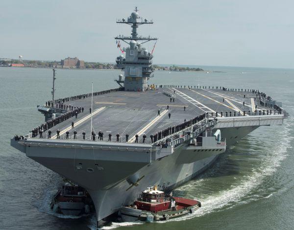 """资料图片:美海军""""福特""""号核航母。(图片来源于网络)"""