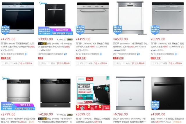 京东销量前十的嵌入式洗碗机均价4777元人民币