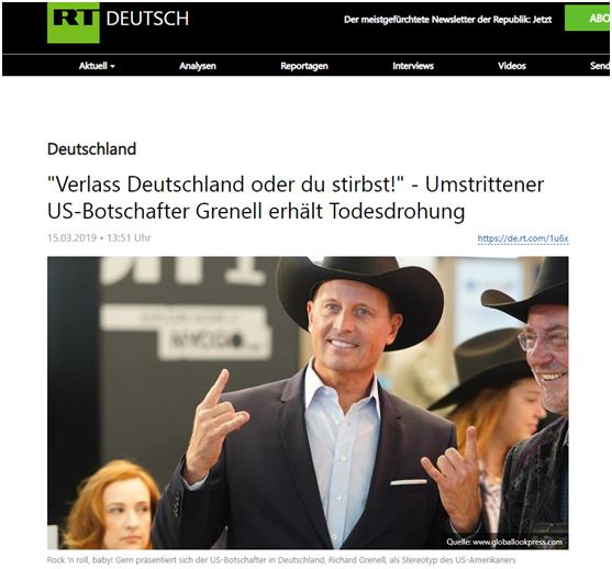 """(今日俄罗斯:""""离开德国或者你死!"""",有争议的美国大使格雷内尔受死亡威胁)"""