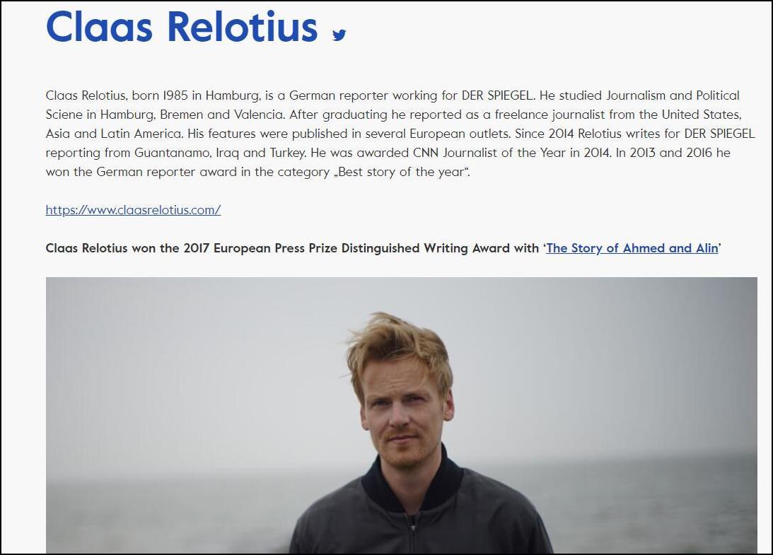 雷洛蒂斯不光是2014年CNN年度记者,还曾获2017年欧洲讯休奖(图片来源:欧洲讯休奖官网)