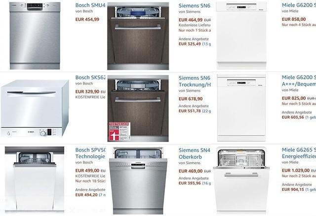 德国亚马逊热销博世、西门子、美诺洗碗机均价623欧元